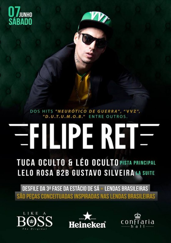 Filipe RET faz show na festa Like a Boss em Florianópolis no próximo sábado (7)