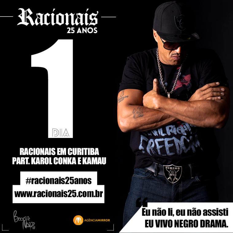 Hoje tem show de 25 anos do Racionais em Curitiba