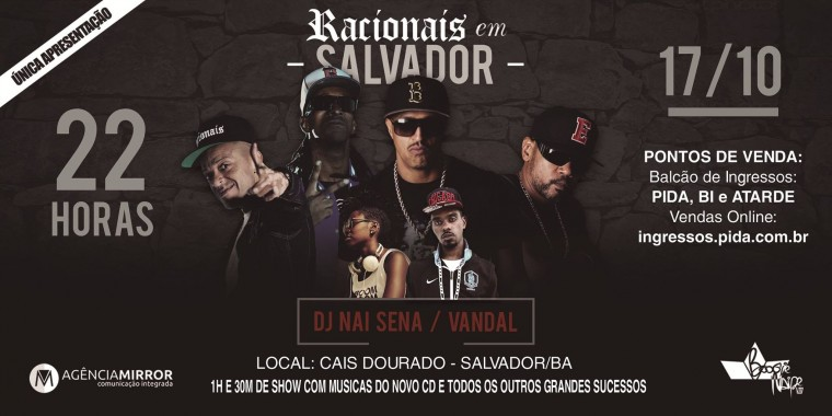 Resultado da promoção RACIONAIS MC'S no Cais Dourado, em Salvador