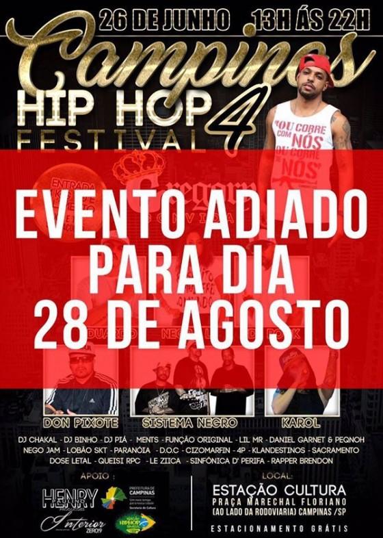 Campinas Hip Hop Festival que aconteceria no domingo (26) é adiado