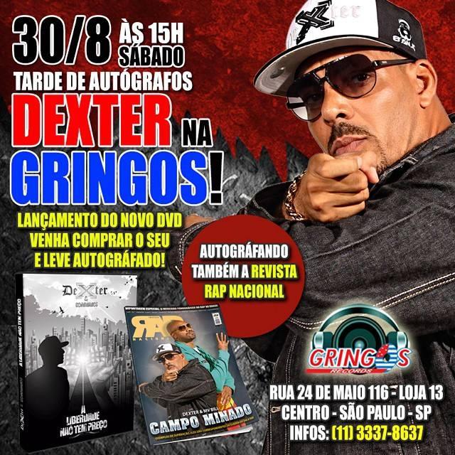 Dexter autografa novo DVD e Revista RAP NACIONAL na Gringos Record's
