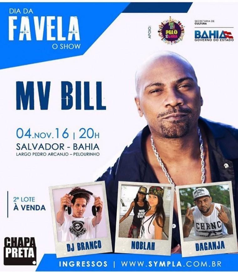 """Mv Bill celebra o """"Dia da Favela"""" com show em Salvador"""