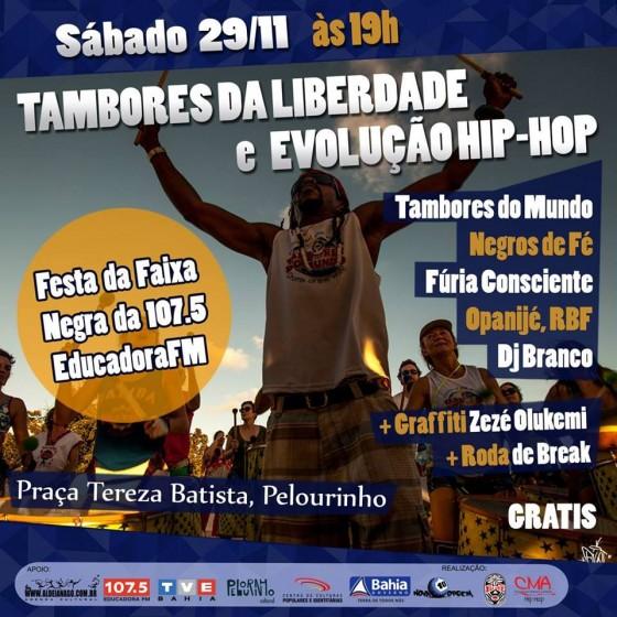 """""""Tambores da Liberdade e Evolução Hip Hop – 7 anos de Resistência"""", neste sábado (29), no Pelourinho"""