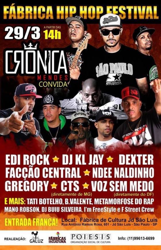 Crônica Mendes convida grandes nomes para Festival na zona sul de SP