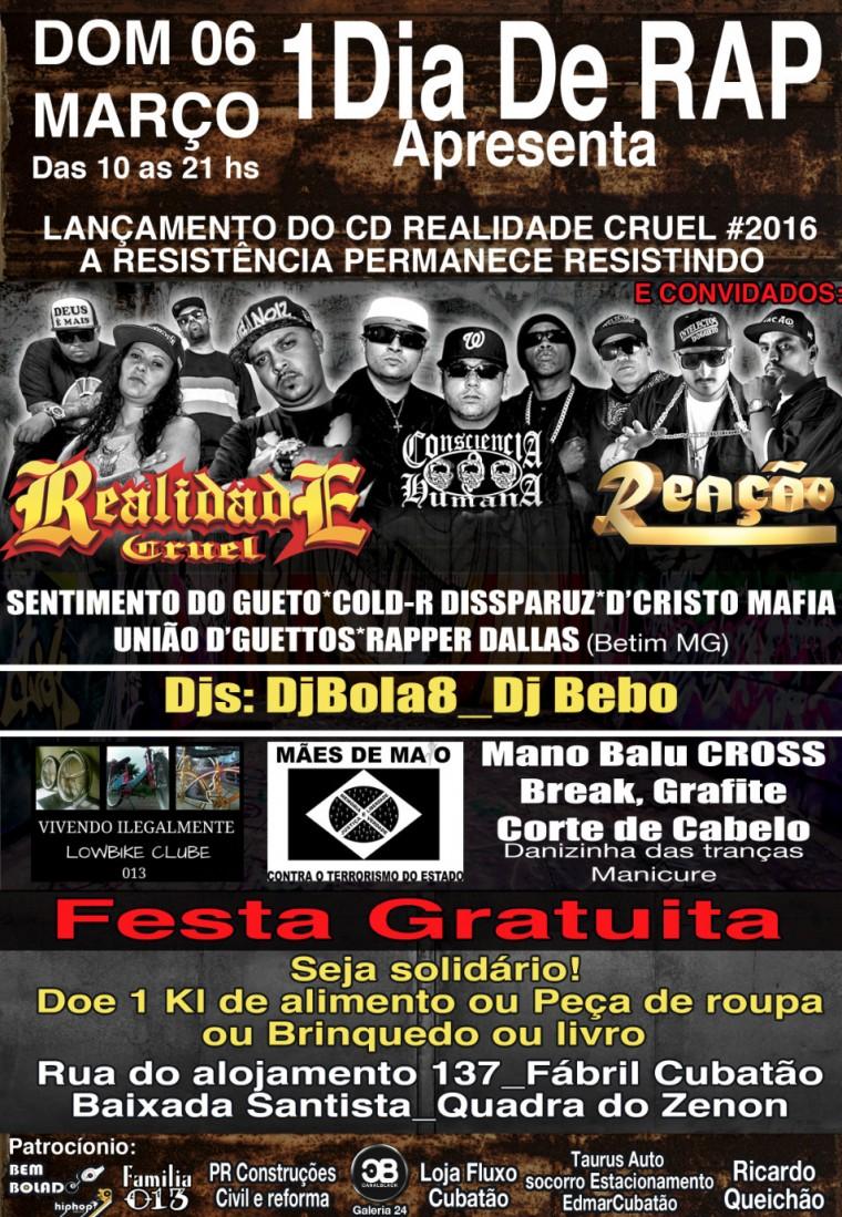 """Realidade Cruel lança novo álbum em evento beneficente """"1 Dia De Rap"""""""