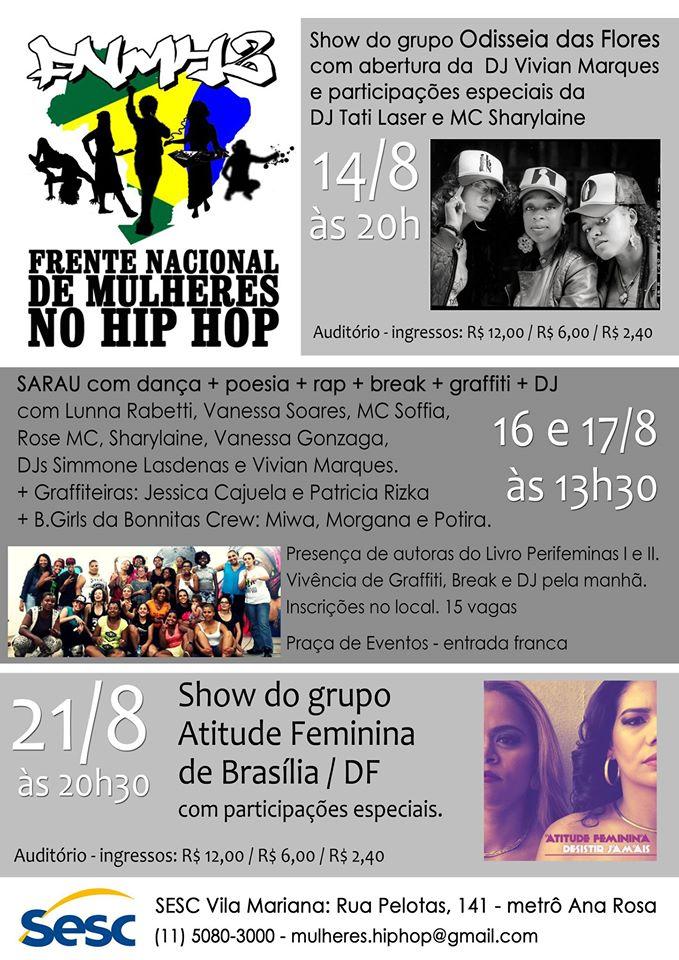 Atitude Feminina faz show no Sesc Vila Mariana nesta quinta (21), em São Paulo