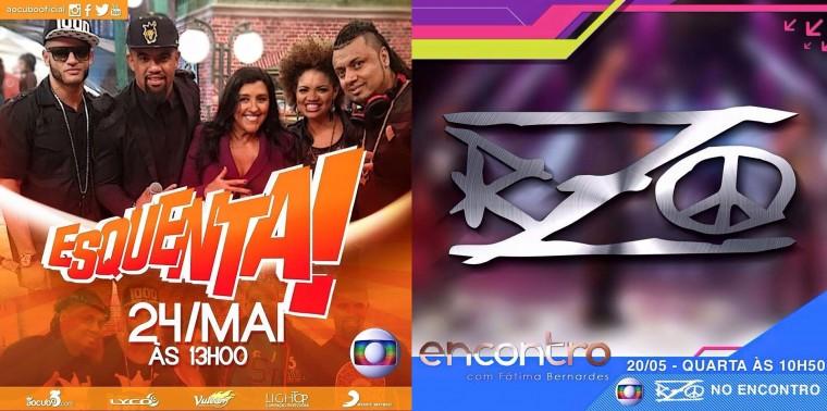 """Na Globo: RZO no """"Encontro"""" com Fátima Bernardes e Ao Cubo no """"Esquenta"""" com Regina Casé"""