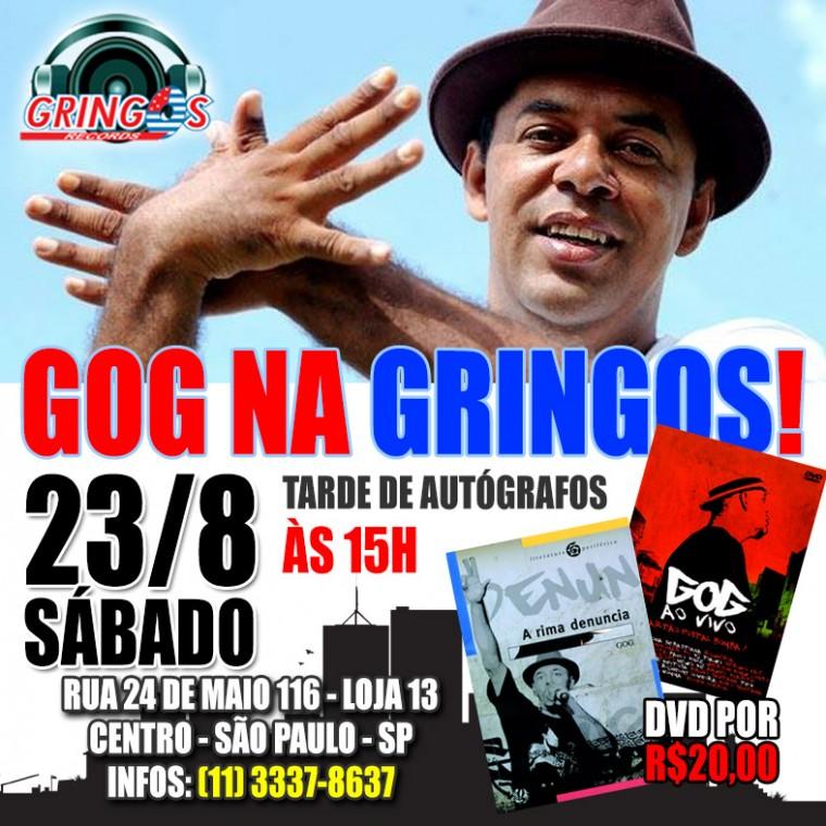 Sábado (23) tem tarde de autógrafos com GOG na Gringos Record's, em São Paulo