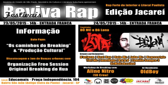 Jacareí recebe Festival Reviva Rap nos dias 23 e 24 de maio